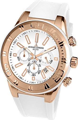 Jacques Lemans Unisex Erwachsene Armbanduhr Chronograph Quarz Silikon 1-1820F