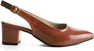 Heeled Shoes Shiny- Brown Color