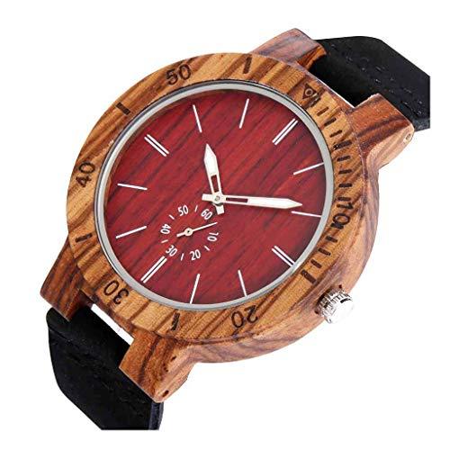 Reloj De Madera Unisex, Reloj De Cuarzo con Esfera Roja De PequeñA Escala MultifuncióN, Hecho A Mano Natural, Seguro Y EcolóGico, No TóXico, Hombres