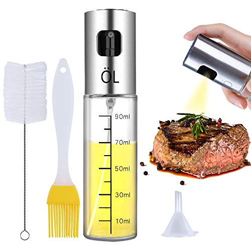 Dispensador de Pulverizador de Aceite Ninonly Acero Inoxidable Dispensador de Aceite Oliva Botella Vidrio de Spray y Vinagre Herramienta de Cocina para usar en Pasta,Sartenes Parrillas y Barbacoas