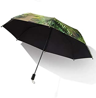 Household Umbrellas Sun Protection UV Umbrellas Sun Protection Folding Black Umbrellas Rain and Rain Umbrellas Green, Yellow HYBKY (Color : Green)