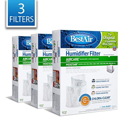 """BestAir EF21-PDQ-3 Extended Life Humidifier Replacement Paper Wick Humidifier Filter, 10.7"""" x 8.3"""" x 3.2"""", For Emerson, Sears & Kenmore Models, 3 Pack"""