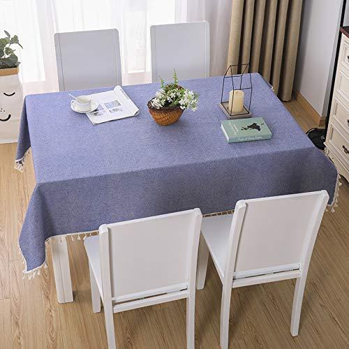 DJUX Tovaglia Decorazione della casa rettangolo Nordico Blu Cotone e Lino Nappa Pizzo Geometrico Tavolo da Pranzo tavolino tovaglia Copertura Panno 90 * 90 cm