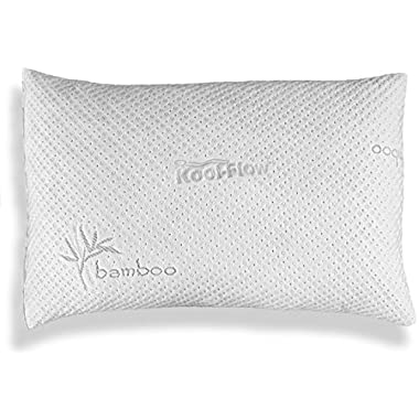 Pillows for Sleeping, Hypoallergenic Bed Pillow for Side Sleeper – ADJUSTABLE Loft Bamboo Memory Foam Pillow - Kool-Flow Micro-Vented Bamboo Cover, Washable - Premium - MADE IN THE USA – QUEEN
