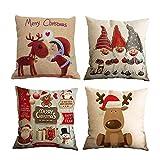 TDCQ 4PCS Fundas Cojines de Navidad,Cojines Navideños para Sofa,Cojines Decorativos para Sofa Navidad,Navidad Fundas Cojines,Cojines Navidad,Funda de Almohada de Navidad