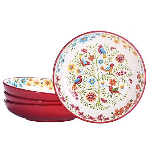 Bico Red Spring Birds Ceramic 35oz Dinner Bowls, Set of 4, for Pasta, Salad, Cereal, Soup & Microwave & Dishwasher Safe