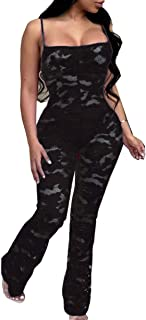 Womens Mesh See Through Lace One Piece Jumpsuits Bodysuit Sleeveless Tops Long Pants Sets for Party Club Wear