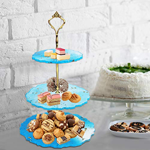 ONESING 15 Pcs 3 Tier Cake Stand Resin Tray Molds Silicone Molds for Resin Casting Mold Kit with Handle Fitting Epoxy Resin Tiered Tray Mold Mold Home Decoration Craft Tray Brackets