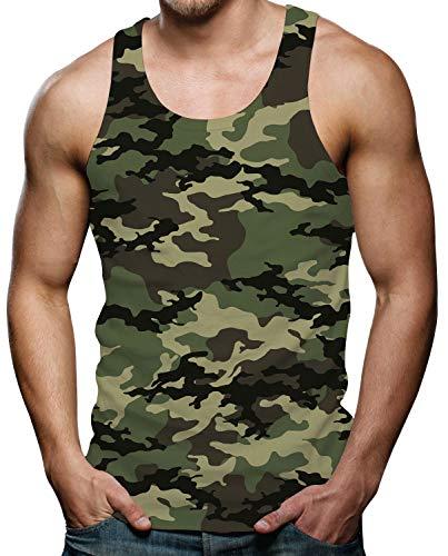 RAISEVERN Herren Tanktop Skull Tank Top Tankshirt mit Print Ärmellose T-Shirts Weste Muskelshirt S