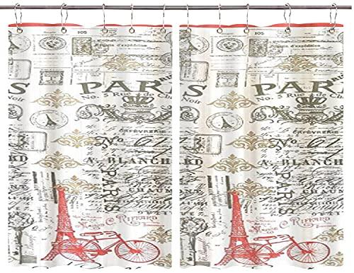 JISMUCI Cortinas para Cocina Paris Postal Modern Antique Style Coral Grey White Torre Eiffel Sello Toile Cortinas de Ventana Ganchos de Metal Juego de 2 Paneles para café de casa 140x100CM