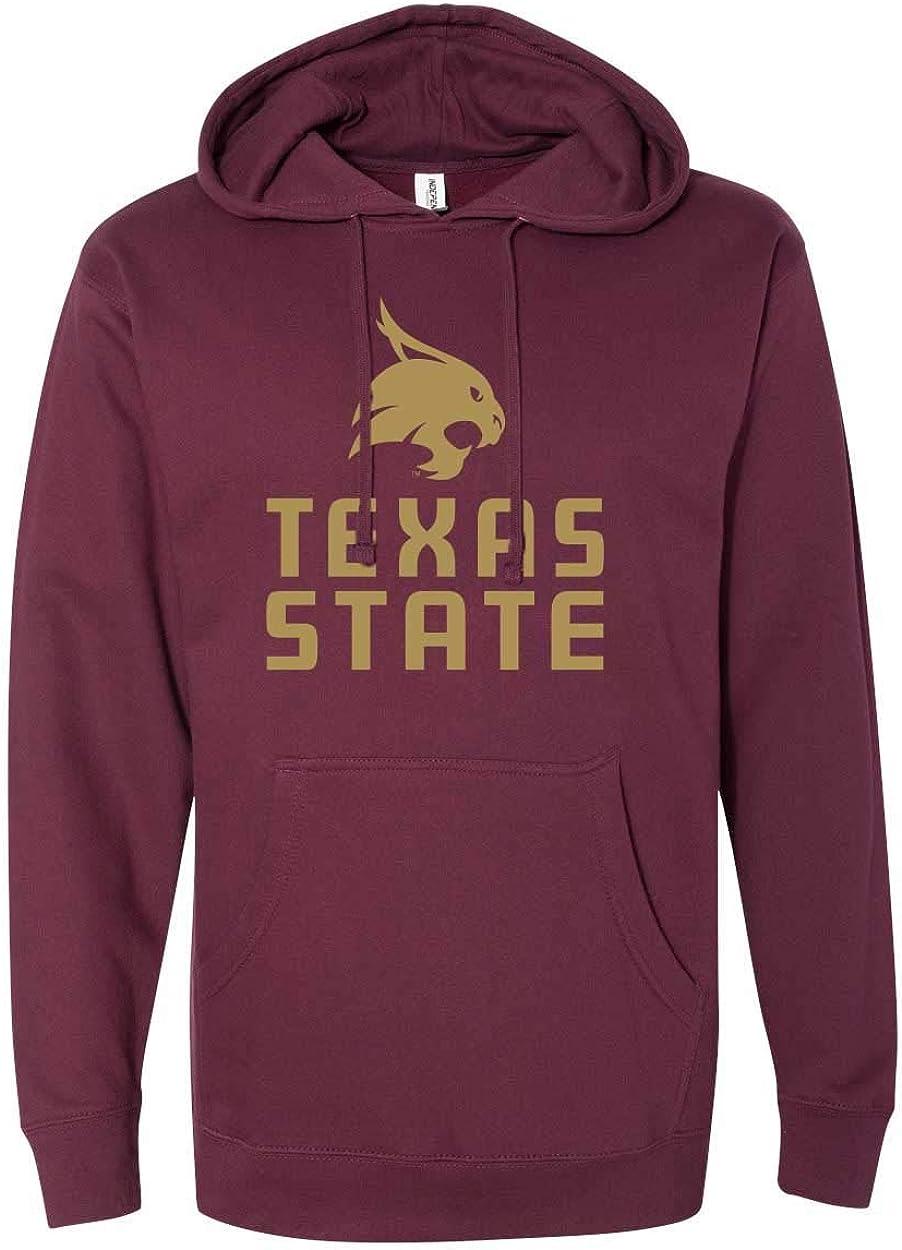 Nudge Nudge Printing Texas State University Bobcats Stacked Logo Unisex Hoodie Sweatshirt