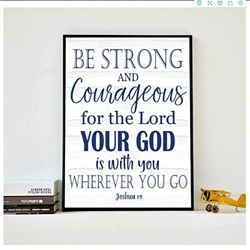 YaShengZhuangShi Canvas wall art no frame 30x50cm(11.8x19.7in) Bible Verse Joshua 1:9 Be Strong Navy Blue Wall Decor Christian Typography Poster Prints for Boys Room