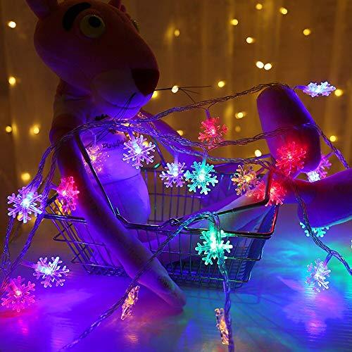 Éclairage de vacances flocon de neige fée lumière LED guirlande guirlande lumineuse noël décoration de mariage guirlande lumineuse batterie multicolore 6m60 leds
