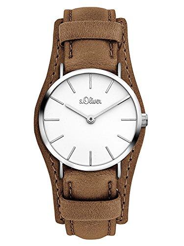 s.Oliver Damen Analog Quarz Uhr mit Leder Armband SO-3448-LQ