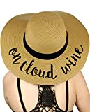 C.C Women's Paper Weaved Crushable Beach Embroidered Quote Floppy Brim Sun Hat, On Cloud Wine