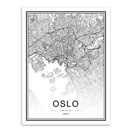 JYWDZSH Impresión De La Lona Mapa De La Ciudad Mundial