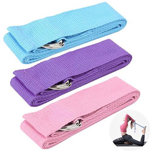 Qixuer 3 Pezzi Cinghie Yoga,Cinghia Yoga Cotone Durevole Yoga Strap Cinghia di...