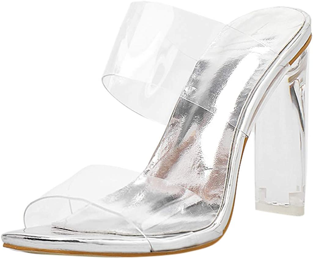 Cenglings Atlanta Mall Womens High Heel Mules Strap Slingback Clear Stiletto Max 83% OFF