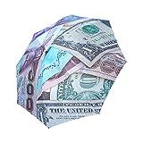 Wokfox Custom Foldable Umbrella National Currency Sun Rain Travel Umbrella Waterproof