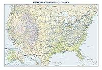 米国インターステートハイウェイ 大型壁地図 - 36インチ x 24.75インチ ラミネート加工