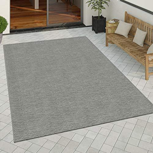 Paco Home In- & Outdoor Teppich Küchenteppich Einfarbiges Design Sisal Optik Modern Grau, Grösse:120x170 cm