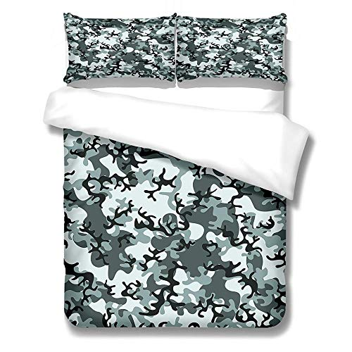 Duvet Cover Set Single-Zipper Closure with 1 Pillow cover Bedding Set Ultra Soft Hypoallergenic Microfiber Quilt Cover Sets Camouflage