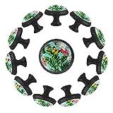 estilo magnífico gabinete de cerámica perillas tire manijas para muebles armario cajón armario cocina baño,Flamencos rosa Pájaros exóticos mariposas florales