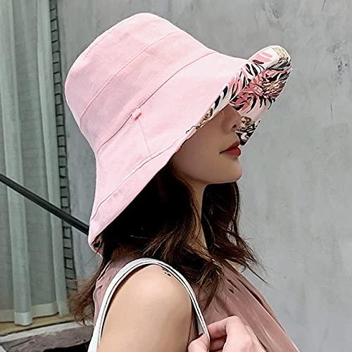 Sombrero de Sol de ala Grande de Verano a la Moda para Mujer, protección Solar Junto al mar, Gorra UV, Sombrero de Pescador Salvaje, Nuevo-K34-Pink-leaf