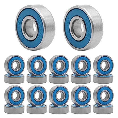 Qpower 20Pcs Skateboard Bearing, Roue à Rouleaux en Acier de Patinage résistant à l'usure à Grande Vitesse 608 ABEC-9, roulements de Patin à Roues alignées (Bleu)