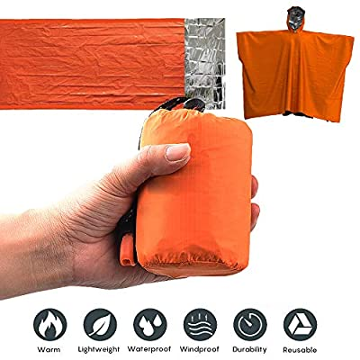 Emergency Sleeping Bag&Poncho-Thermal Bivvy Use as Emergency Bivy Sack,Survival Sleeping Bag,Mylar Emergency Blanket,Emergency Raincoat-Include Stuff Sack with Survival Whistle for Camping,Hiking