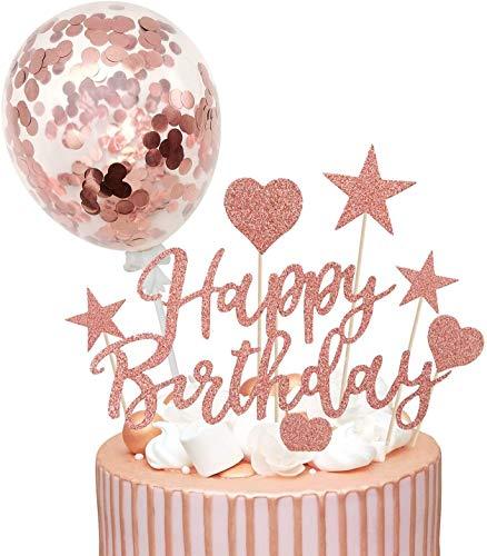Humairc Decorazioni Torte Compleanno Rosa Oro Cake Topper Happy Birthday + Confetti Palloncini + Cuoricini Stella per Donne Ragazze