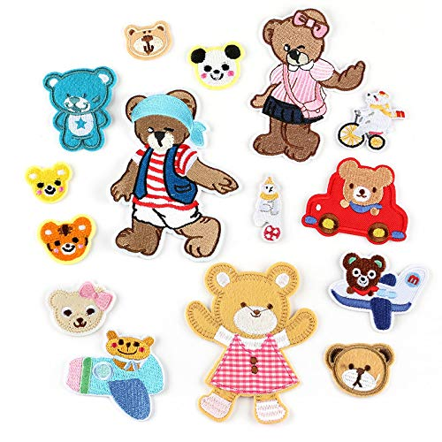 Iron on Patche/Sewing Patch,Embroidery Applique,Suitable for Hats,T-Shirts,Coats,Jackets,Pants,Shoes,suitcases,Backpacks,15pcs Styles:Cartoon Animal Bears