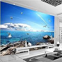 Bosakp カスタム壁画壁紙青空白い雲シーガル海景テレビの背景写真の壁紙リビングルームの寝室の家の装飾 200X140Cm