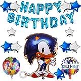 Juego de globos,decoración de la fiesta de primer cumpleaños de los niñosDecoracion Cumpleaños Sonic, Hedgehog Feliz Cumpleaños del Pancarta de Sonic, decoración de baby shower