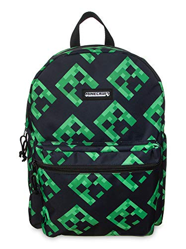 "Minecraft Backpack 16"" Book Bag for Kids Creepers All Over Print"