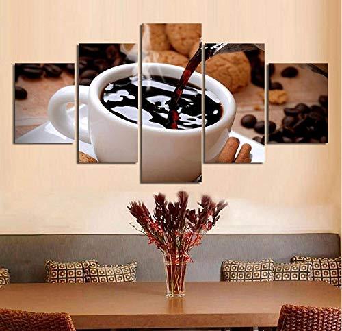 Tacbz muurkunst HD bedrukt de decoratie van het huis, 5 delen, café, linnen, drank, zacht, modulair, voor restaurant, foto's, kunstdruk op canvas, meerkleurig