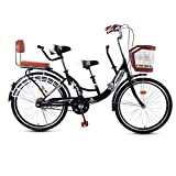 22-24 pulgadas de padres y niños Bicicletas - Bici en tándem de la bicicleta - alto contenido de carbono de acero y la madre del bebé de bicicletas cerrado Cadena antideslizante pie pedales,22 inch