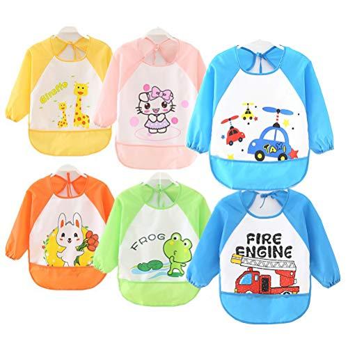 ElecMotive Pack de 6 Impermeable Baberos del Bebé PEVA de Manga Larga,Para Bebé Niños Niñas 0 ~3 años