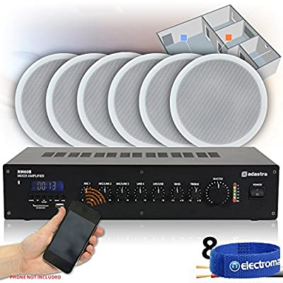 Power Dynamics 8x Speakers Bluetooth Amplifier 100V Line Restaurant Pub Background Music System