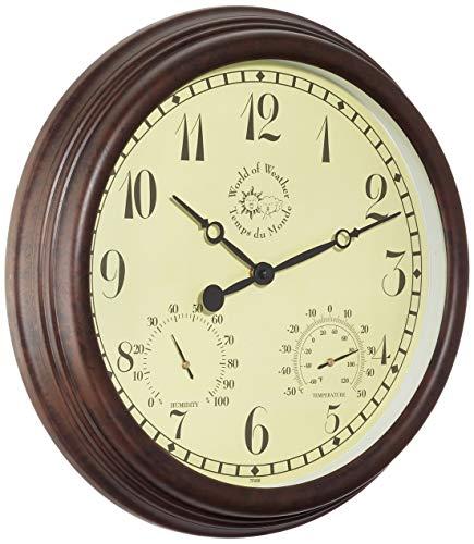 Esschert Design Wanduhr, Gartenuhr aus Kunststoff, rund, ca. 38 cm x 6,1 cm x 38 cm