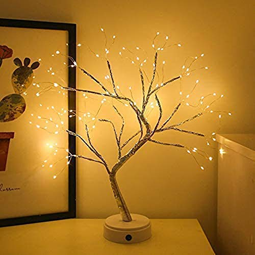 Led Bonsai Tree Light, Artificial Tree, Battery and Usb Operated, 6 Hrs Timer, Adjustable Branches (Warm White Glow Silver Branch)