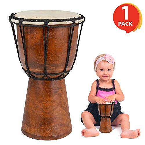 ArtCreativity 8 Inch Mini Wooden Toy Drum - Rustic Brown Wood and Authentic Design - Fun Musical Instrument for Children - Gift Idea, Party Supplies, Birthday Party Favor for Boys, Girls, Toddler
