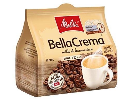 Melitta Gemahlener Röstkaffee in Kaffeepads, 10 x 16 Pads, 100% Arabica, Mild und Harmonisch, milder Röstgrad, Stärke 2, BellaCrema