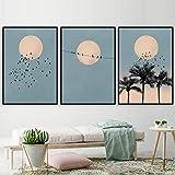 Sol Luna Pájaro Palma Árbol Paisaje Pared Arte Lienzo Pintura Escandinavo Poster Y Impresiones Pared Cuadros para Salon Habitación Pared Decoracion 40X60cmx3 No Enmarcado