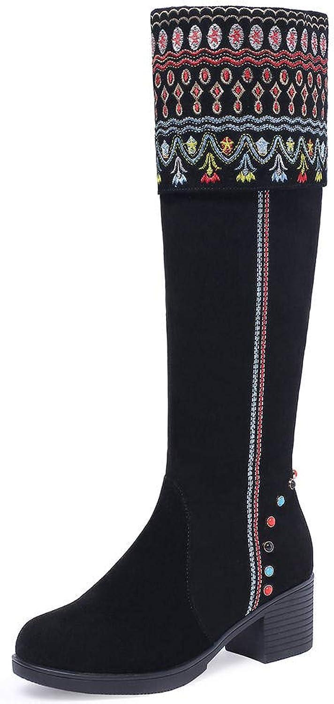 VIMISAOI Women's Ethnic Style Round Toe Mid Heel Boots