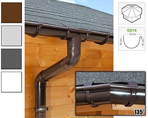 Dachrinnen/Regenrinnen Set | achteckiges Dach (8 Seiten) | GD16 | in anthrazit, weiß, braun oder grau! (Umriss bis 14.00 m (Kompl. Set), Braun)