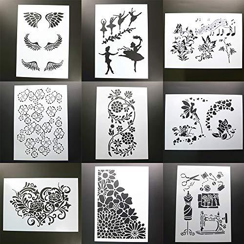 BLUGUL 9pcs A4 Plantillas de Dibujo, para Manualidades Decoración Pared Mueble Ventana Aerógrafo, Patrón Decorativo Costura Ballet Alas Hadas Corazón Música