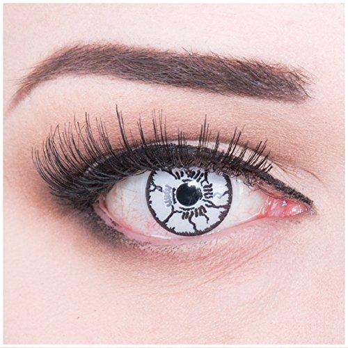 Funnylens 1 Paar farbige weisse schwarze Crazy Fun White Monster Jahres Kontaktlinsen.Kontaktlinsen mit schwarzen Adern Topqualität zu Fasching und Karneval mit gratis Kontaktlinsenbehälter ohne Stärke!