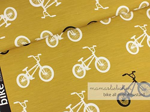 Mamasliebchen Jersey-Stoff Bikes All Over #Mustard (0,5m) Fahrrad Bike Meterware