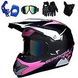 PKFG® Motocross Helm Kinder Pink, Offroad Motorradhelm mit Visier Brille Handschuhe Maske und Helmhaken, Mädchen Motorrad Cross Enduro Helm für Mountainbike MTB Moped Kopf Schutz, M (54~55CM)